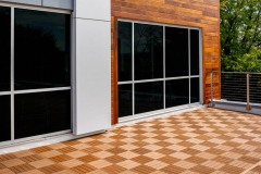 The checkered balcony at the rear of our building provides ample space to enjoy some fresh air.
